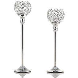 VINCIGANT Hurricane Candleholders Modern Silver Crystal Hold