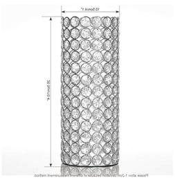 VINCIGANT Silver Crystal Candle Holders,Cylinder Metal Arran