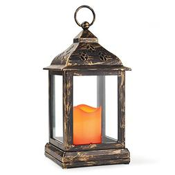 "Bright Zeal 10"" Decorative Lantern with LED Candle - Bronze"