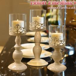 Vintage Flower Galvanized Iron Pillar Candle Holder Glass La