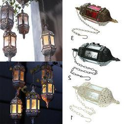 Vintage Hanging Candle Holder Moroccan Glass Candle Lantern
