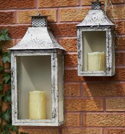 Set of 2 Vintage Rose Antiqued Cream Wall Mounted Pillar Can