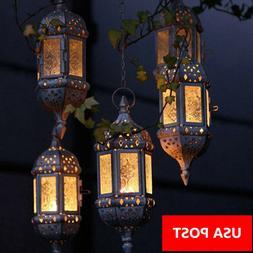 Vintage Tea Light Candle Holder Moroccan Hanging Glass Lante