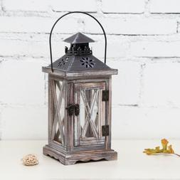 Vintage Tea Light Wooden Candle Holder Moroccan Hanging Iron
