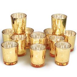 Volens Gold Votive Candle Holder, Mercury Glass Tealight Can