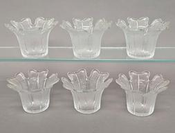 "Votive Candle Holder Clear Glass Tea Light Tulip Shape 3.75"""