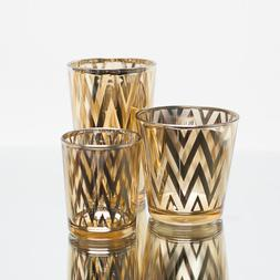 Richland Votive Candle Holder Gold Mercury Chevron Set of 12