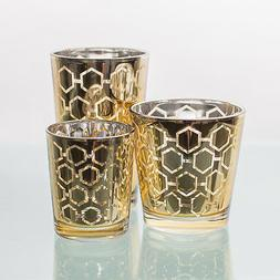 Richland Votive Candle Holder Gold Mercury Hexagonal Set of