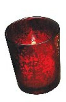 Votive Candle Holder, Red Rustic Glass, New, Holds Tealight