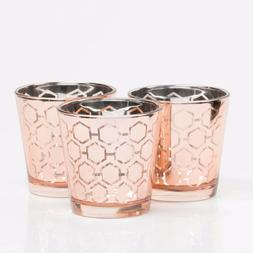 Richland Votive Candle Holder Rose Gold Mercury Hexagonal Se