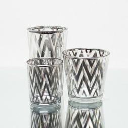 Richland Votive Candle Holder Silver Mercury Chevron Set of