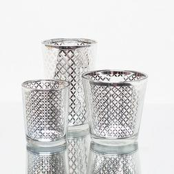 Richland Votive Candle Holder Silver Mercury Lattice Set of