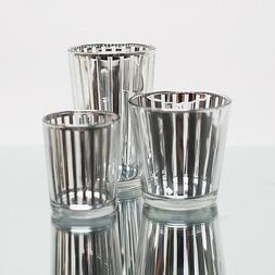 Richland Votive Candle Holder Silver Mercury Stripe Set of 4