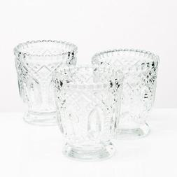 Richland Votive Holder Clear Textured Glass With Base Set of