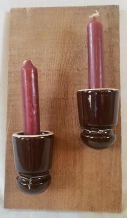 Wall Candle Holder w/2 Vintage Ceramic Insulators & Cedar Wo