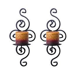 Pasutewel Wall Candle Sconces,Set of 2 Elegant Swirling Iron