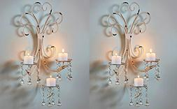 Set of 2 Wall Chandelier Candle Holder Sconce Shabby Chic El