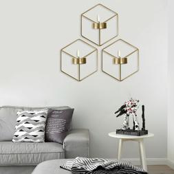 Wall Hanging Candle Holder Stand 3D Geometric Metal Tea Ligh