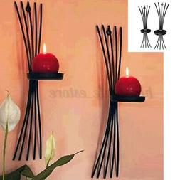 Wall Hanging Candlestick Iron Candle Holder Sconce Black Mod