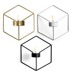 Wall Mounted Candle Holder Metal 3D Geometric Tea Light Cand