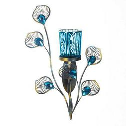 WALL SCONCE SET: 2 Peacock Inspired Turquoise Votive Candle