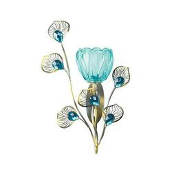 WALL SCONCE SET: 2 Peacock Blossom Turquoise Votive Candle H