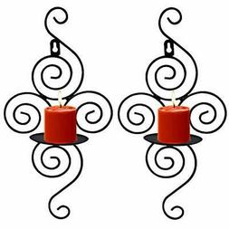 Wall Sconces Candle Holder, Set Of 2 Elegant Swirling Iron H