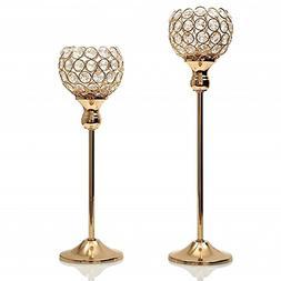 VINCIGANT Gold Crystal Candle Holders Set for Wedding Coffee
