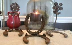 welded metal art horseshoe center piece candle