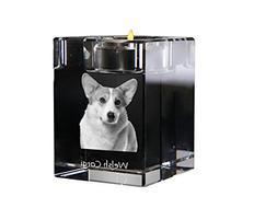 Art Dog Ltd. Welsh Corgi, crystal candlestick, candle holder