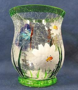 White Daisies Votive Candle Holder Hand Painted Crackle Glas