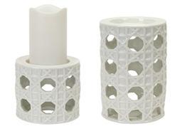 Pack of 2 White Garden Lattice Decorative Pillar Candle Hold