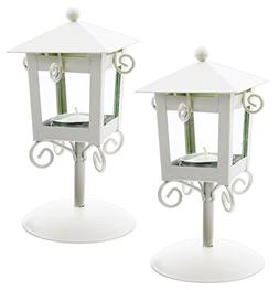 "Set of 2 Fashioncraft 6.5"" White Lamppost Candle Holders wit"