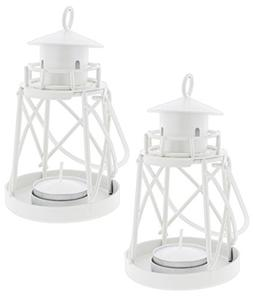 "Set of 2 Fashioncraft 5"" White Metal Lighthouse Candle Holde"