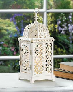 "white Moroccan Marrakech Candle holder 11"" punched Lantern l"