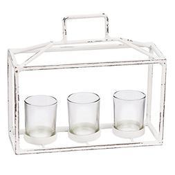 Skalny White Rectangle Metal & Glass 3 Tea Light Candle Hold