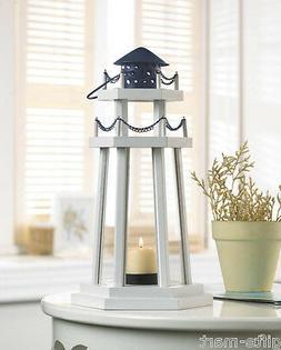 """WHITE wood nautical LIGHTHOUSE statue 12"""" Candle holder Lant"""