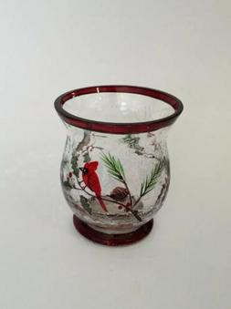 YANKEE CANDLE Winter Bird Crackle Glass Hurricane Votive Hol