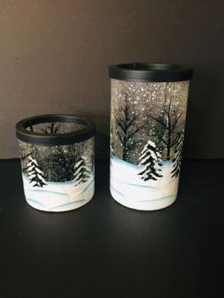 Yankee Candle Winter Frost Crackle Tea Light Holders Set Of