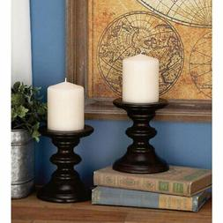 "Wood Candle Holder Pr 6""H, 4""W - 51482, Mahogany"