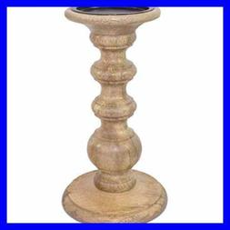 """Hosley 9"""" High Wood LED Pillar Candle Holder - Country Style"""