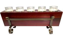 Wood Sugarmold Candle Holder Set - 5 Hole Tealight candle ho