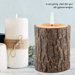 Wood Timber Pile Candle Holder Stand Candlestick Log Flowerp