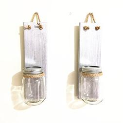 Wood Wall Sconce Hanging Wall Candle Holders Set of 2, Silve
