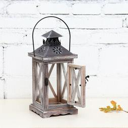 Wooden Candle Holder Vintage Tea Light Moroccan Hanging Iron