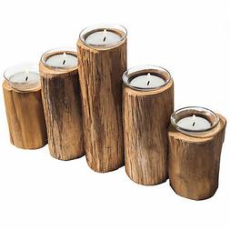 MyGift Wooden Log-Pillar Design Tealight Candle Holder with