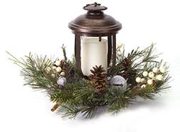 """11"""" Woodland Inspired Lantern with Frosted Pine and Jingle B"""