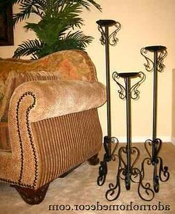 Wrought Iron Floor Candle Holders Set Metal Tall Standing Ru