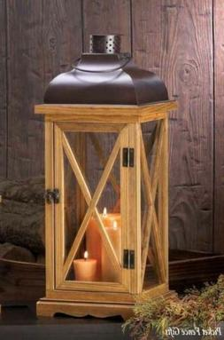 X-Frame Wood Candle Lantern - 20.5 inches