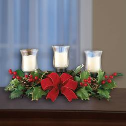 Christmas Centerpiece Candle Holder Xmas Artificial Table Gl